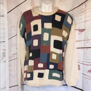 Vintage 90s concrete mix color bloc knit sweater L